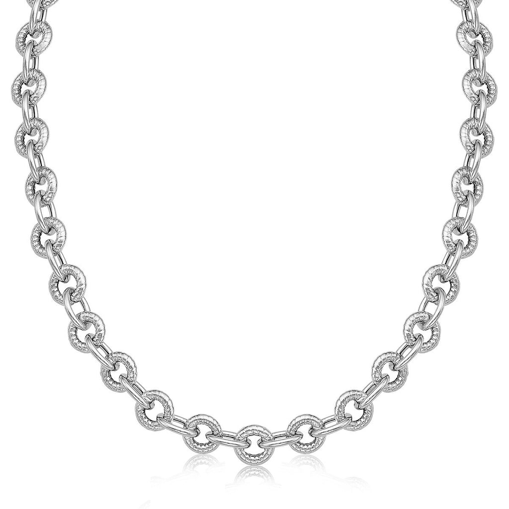 Sterling Silver Round Cable Inspired Chain Link Necklace