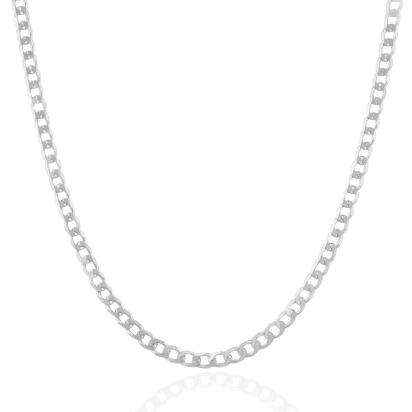 Rhodium Plated 3.7mm Sterling Silver Curb Style Chain