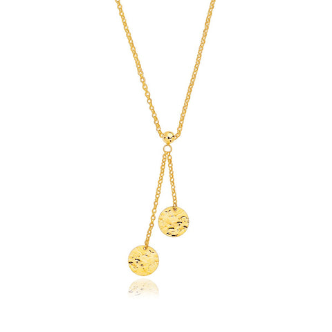 14K Yellow Gold Hammered Disc Lariat 17 inches Necklace