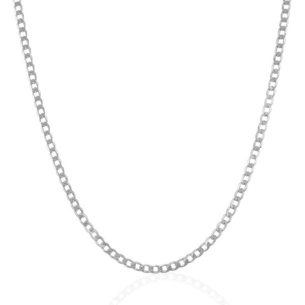 Rhodium Plated 3.0mm Sterling Silver Curb Style Chain