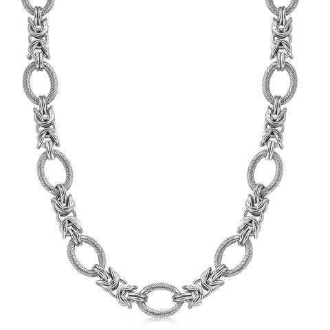 Sterling Silver  Rhodium Plated Knot Style and Textured Oval Chain Necklace