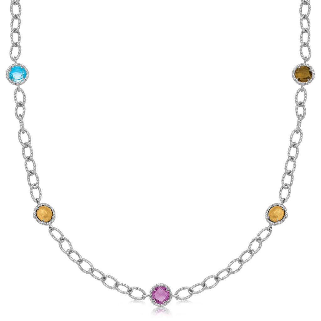 18K Yellow Gold and Sterling Silver Chain Necklace with Multi Gemstone Stations
