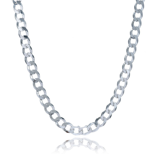 Rhodium Plated 7.8mm Sterling Silver Curb Style Chain