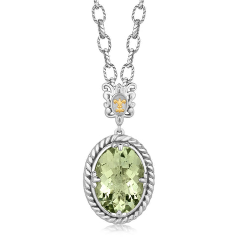 18K Yellow Gold and Sterling Silver Rhodium Plated Oval Green Amethyst Necklace