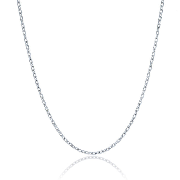 1.5mm Sterling Silver Rhodium Plated Cable Chain