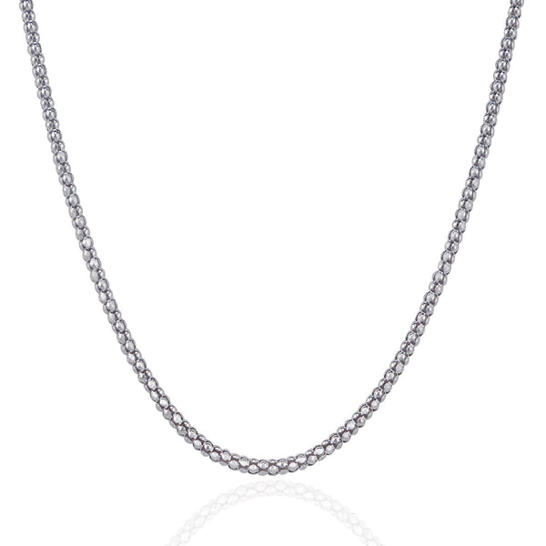 Rhodium Plated 2.5mm Sterling Silver Popcorn Style Chain