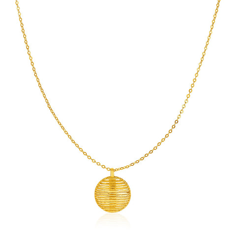14K Yellow Gold Necklace with Round Diamond Cut Line Pattern Pendant