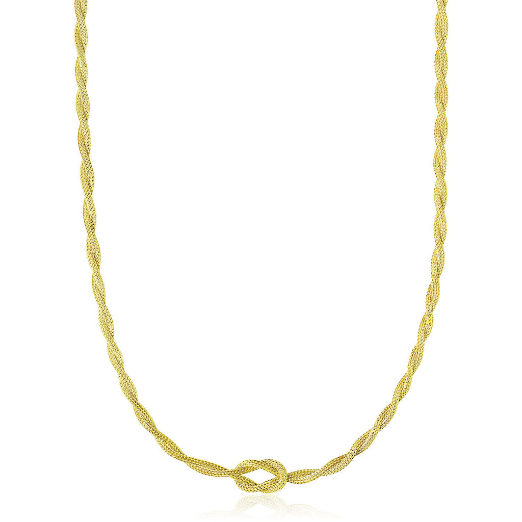 14K Yellow Gold Braided and Knotted Wheat Chain Necklace