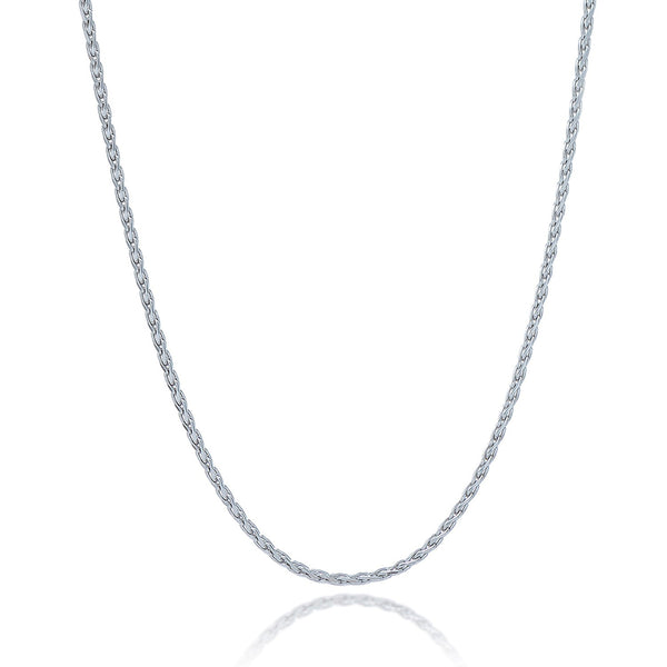 1.5mm Sterling Silver Rhodium Plated Wheat Chain