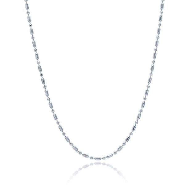 1.5mm Sterling Silver Rhodium Plated Bead Chain