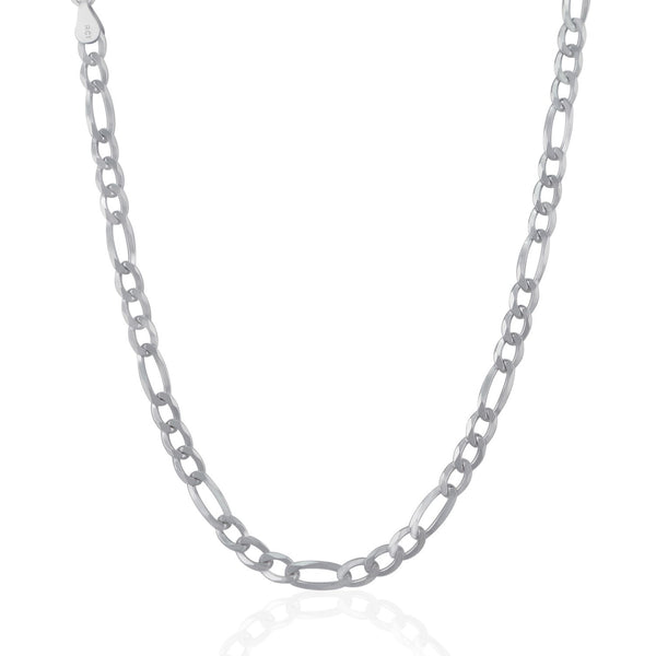 Rhodium Plated 5.5mm Sterling Silver Figaro Style Chain