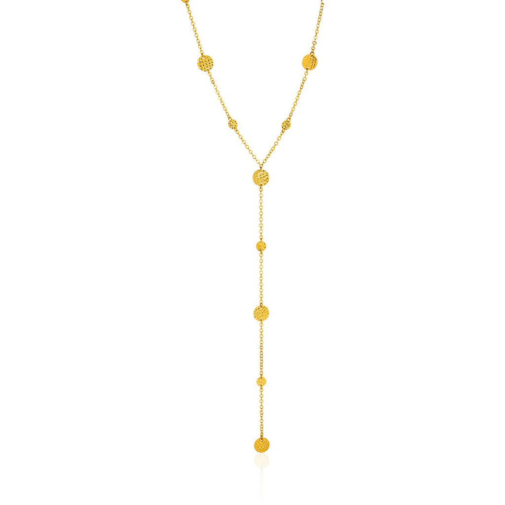 14K Gold 17 inches Lariat Necklace with Textured Flat Circles