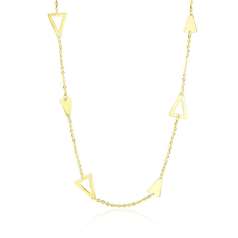 14K Yellow Gold Chain Necklace with Solid and Open Triangle Stations