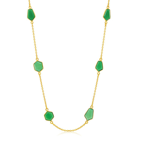 Sterling Silver Yellow Gold Plated Necklace with Geometric Green Onyx Stations