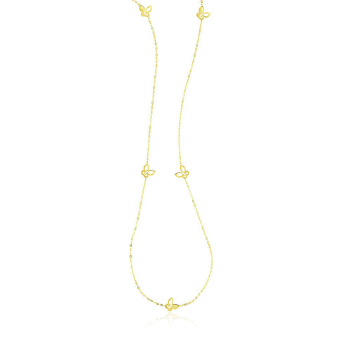 14K Gold 36 inch Piatto Chain Necklace with Butterflies