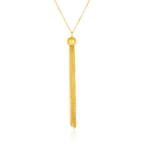 14K Gold 18 inches Ball and Multi-Strand Tassel Necklace
