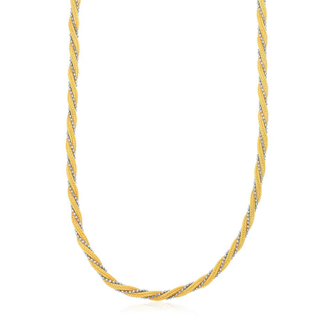 14K Two Tone Gold 18 inches Textured Twisted Multi-Strand Chain Necklace