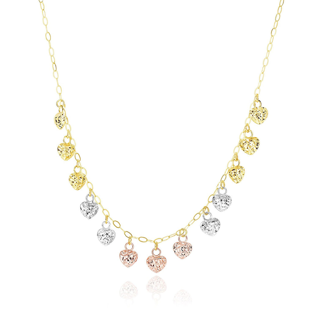 14K Tri-Color Gold Diamond Cut Puffed Heart Charms Necklace
