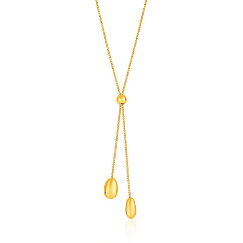 14K Gold 24 inch Textured Lariat Necklace with Rounded Beads