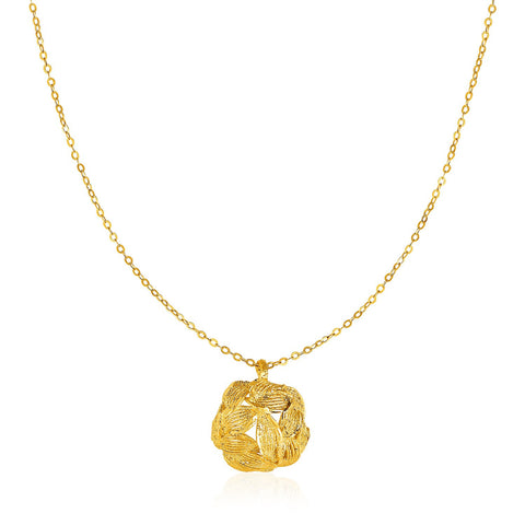 14K Yellow Gold Necklace with Round Diamond Cut Leaf Pattern Pendant
