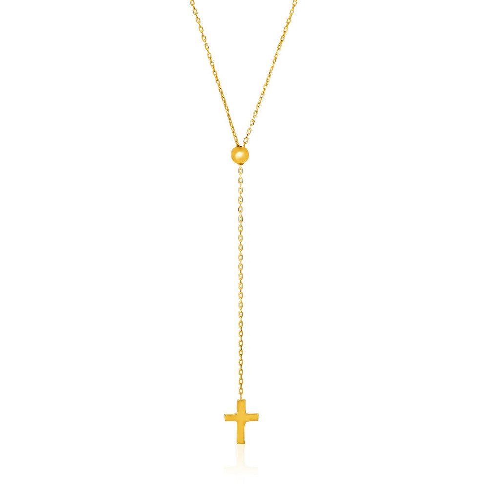 14K Gold 26 inch Adjustable Cable Chain Necklace with Cross