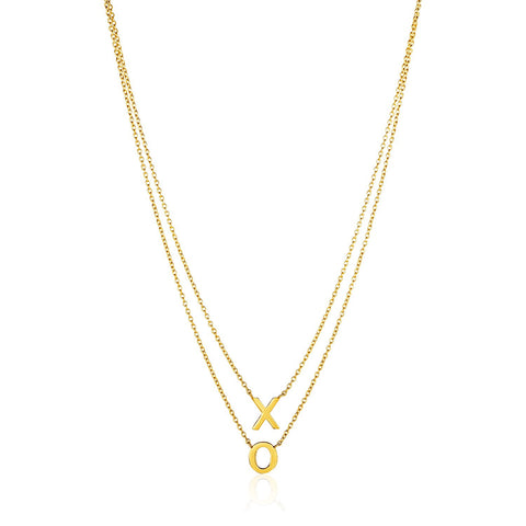 14K Gold Double-Strand Chain Necklace with  inchesX inches and  inchesO inches