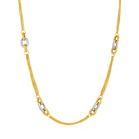 14K 17 inches Two-Tone Yellow and White Gold Gourmette Necklace with Links