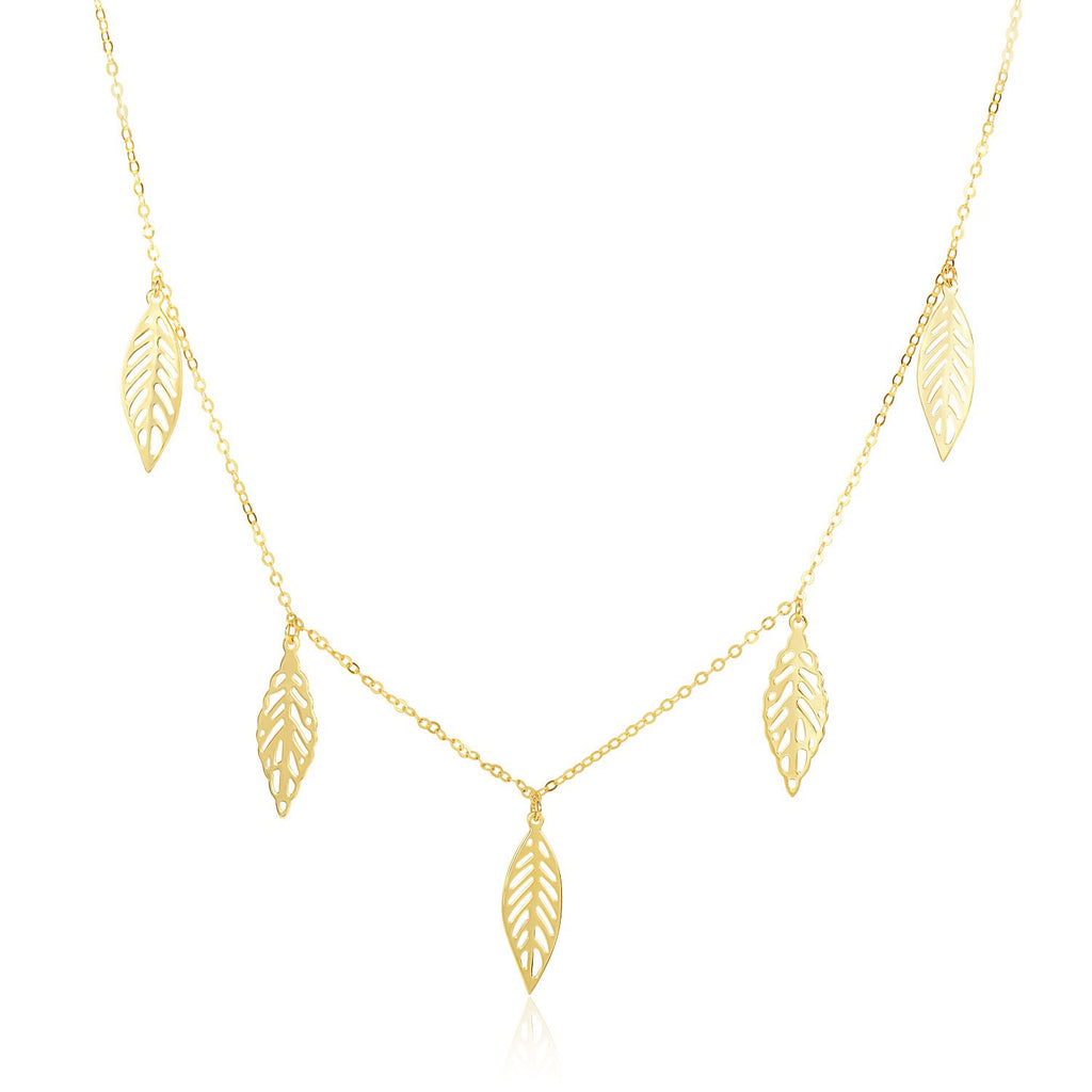 14K Yellow Gold Filigree Leaf Embellished Chain Necklace