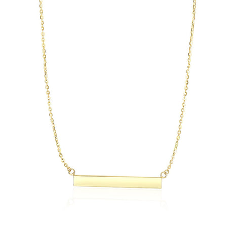 14K Yellow Gold Chain Necklace with a Shiny Flat Bar