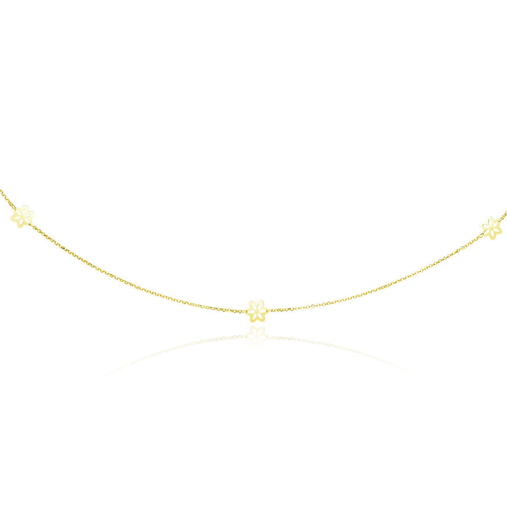 14K Yellow Gold Long Cable Chain Necklace with Floral Stations