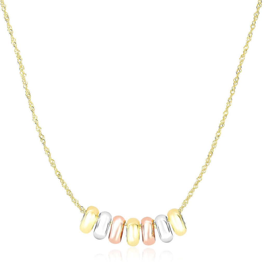 14K Tri-Color Gold Chain Necklace with Loose Lucky Ring Charms