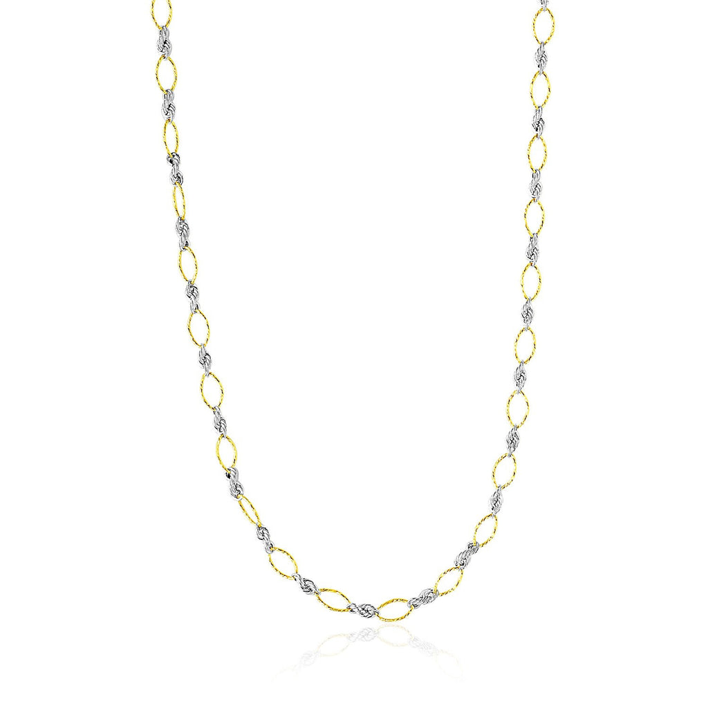 14K Two-Tone Gold Necklace with Alternate Textured Oval and Rope Design Links