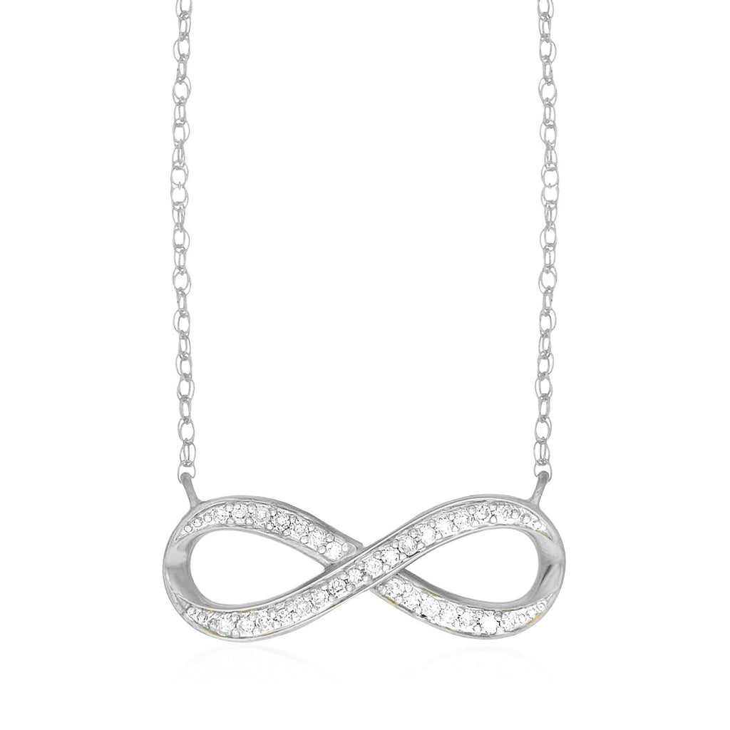 14K White Gold Infinity Chain Necklace with Diamonds
