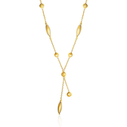 14K Two Tone Gold 17 inches Necklace with Marquise Motifs and Textured Circles