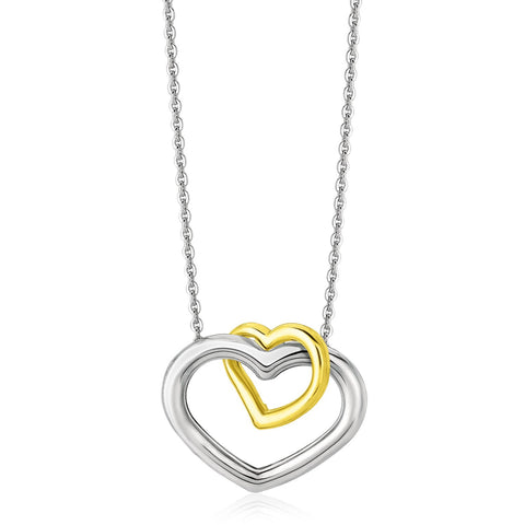 14K Yellow Gold & Sterling Silver Double Entwined Open Heart Necklace