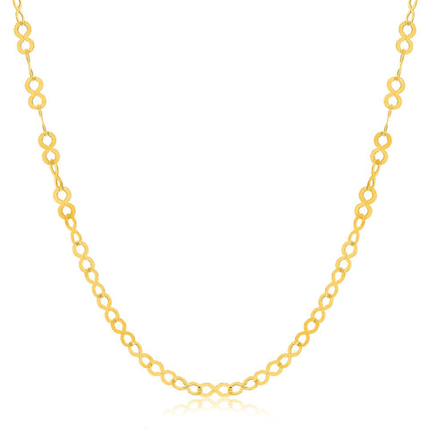 14K Yellow Gold Infinity Motif Pendant Chain (3.3mm)