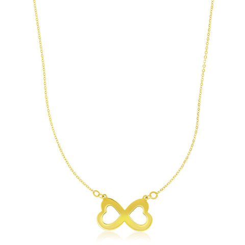14K Yellow Gold Infinity Heart Motif Pendant