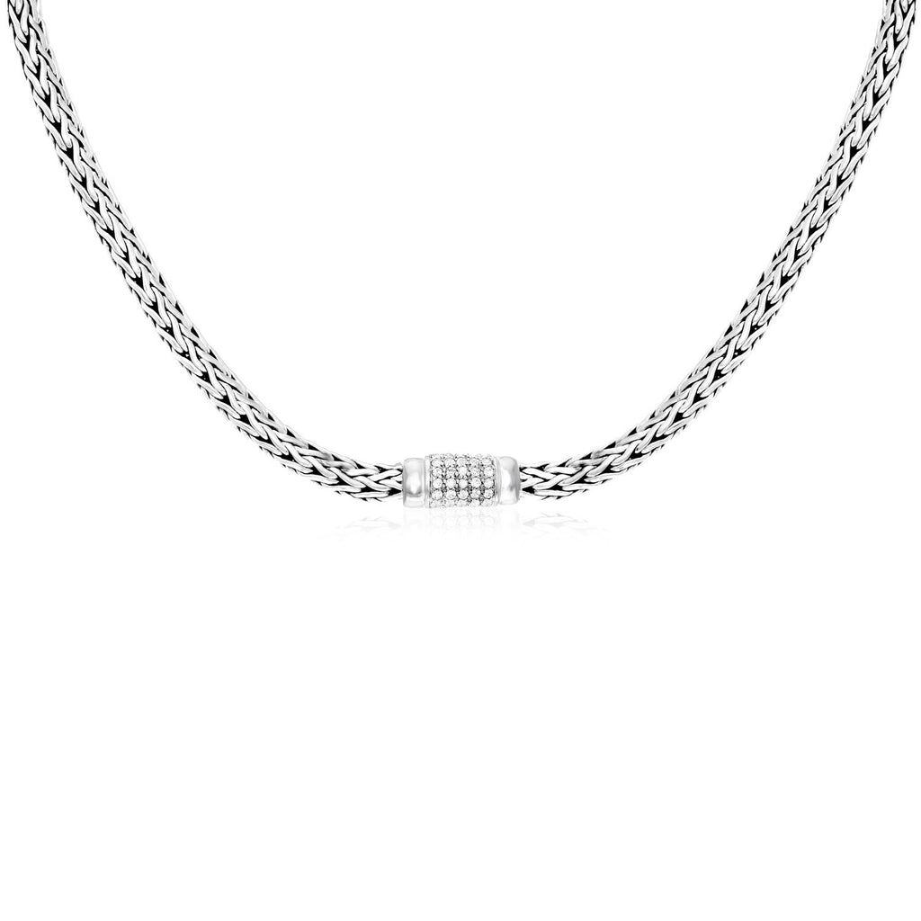 Sterling Silver Woven Necklace with White Sapphire Accents
