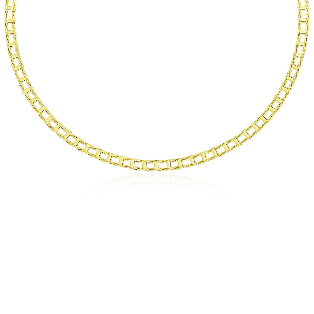 14K Yellow Gold Men's Necklace with Track Design Links