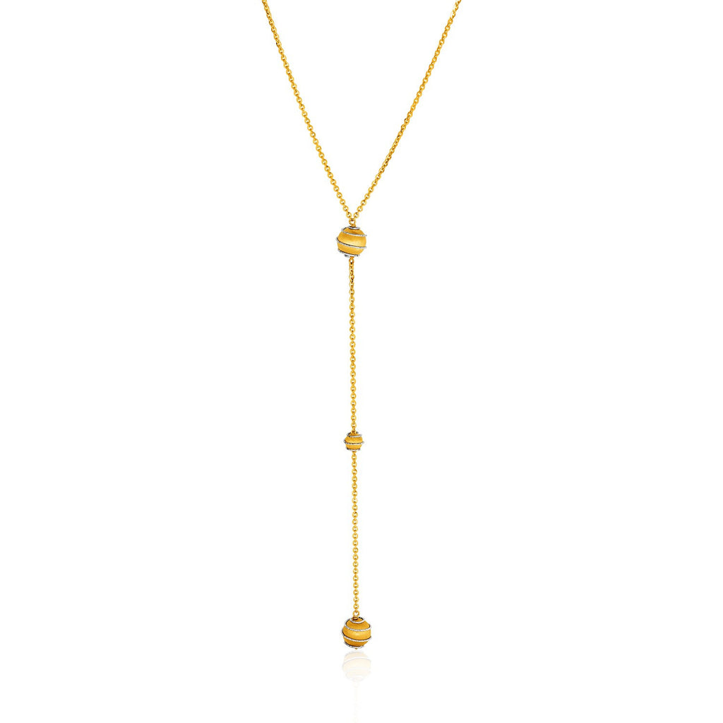 14K Gold 18 inches Two-Tone Yellow and White Chain and Ball Lariat Necklace