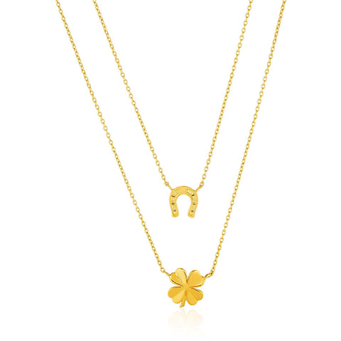 14K Gold Double-Strand Chain Necklace with Four-Leaf Clover and Horseshoe