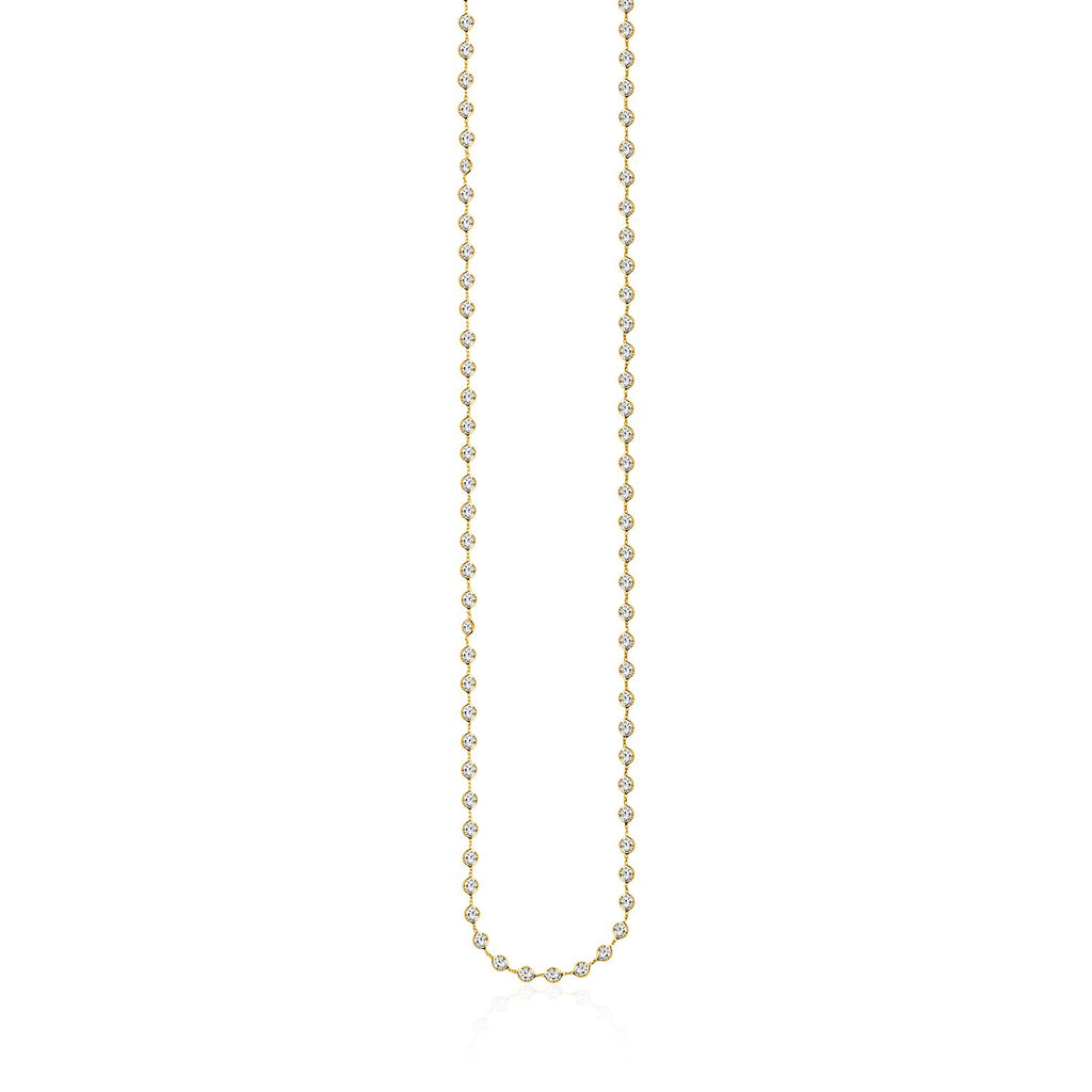 14K Yellow Gold Long Necklace with White Cubic Zirconias