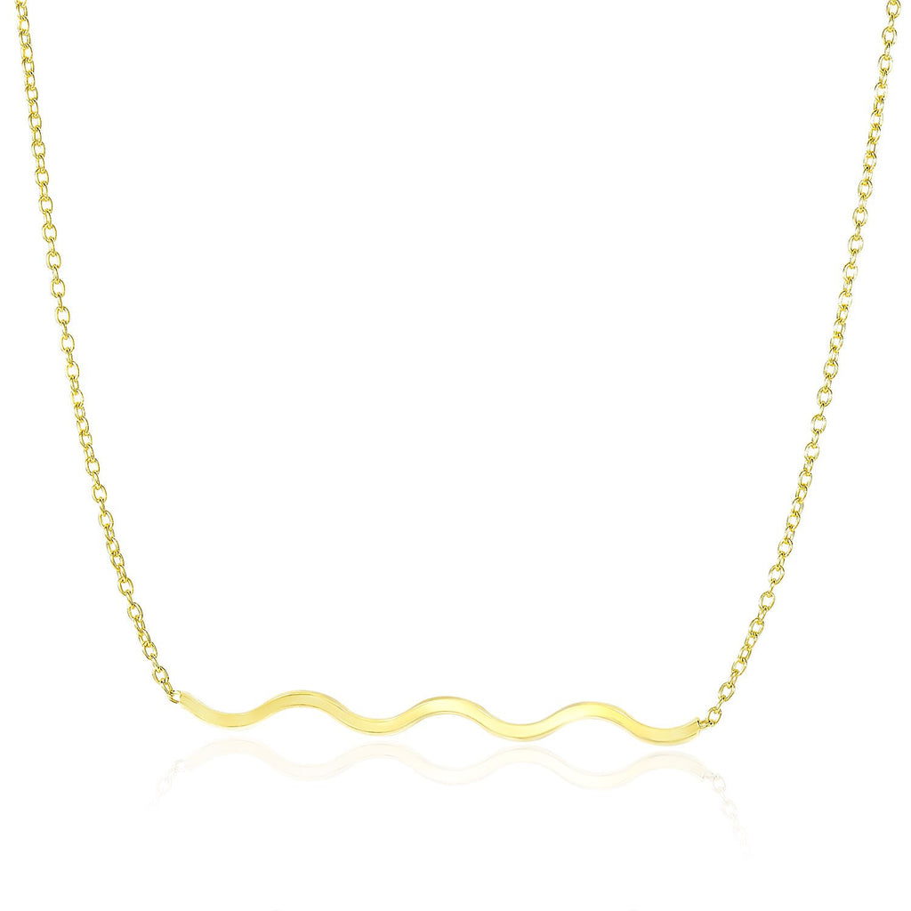 14K Yellow Gold Chain Necklace with Wavy Bar Design