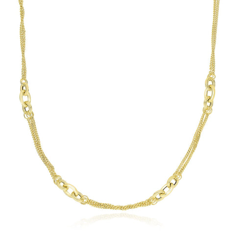 14K Yellow Gold Multi Chain Strand Necklace with Oval Links