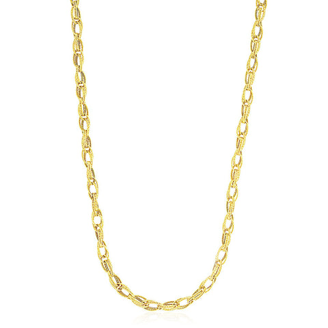 14K Yellow Gold Textured Entwined Oval Link Necklace