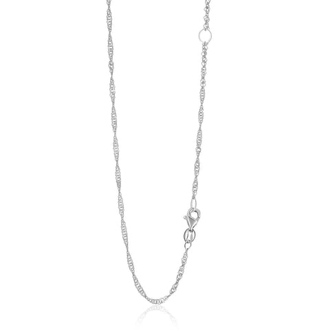1.7mm 14K White Gold Adjustable Singapore Chain