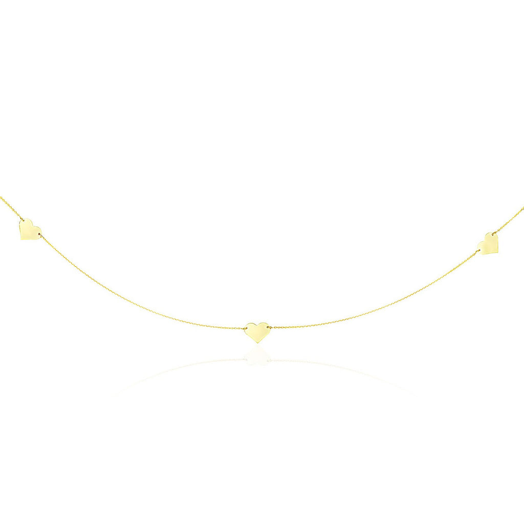 14K Yellow Gold Long Cable Chain Necklace with Flat Heart Stations
