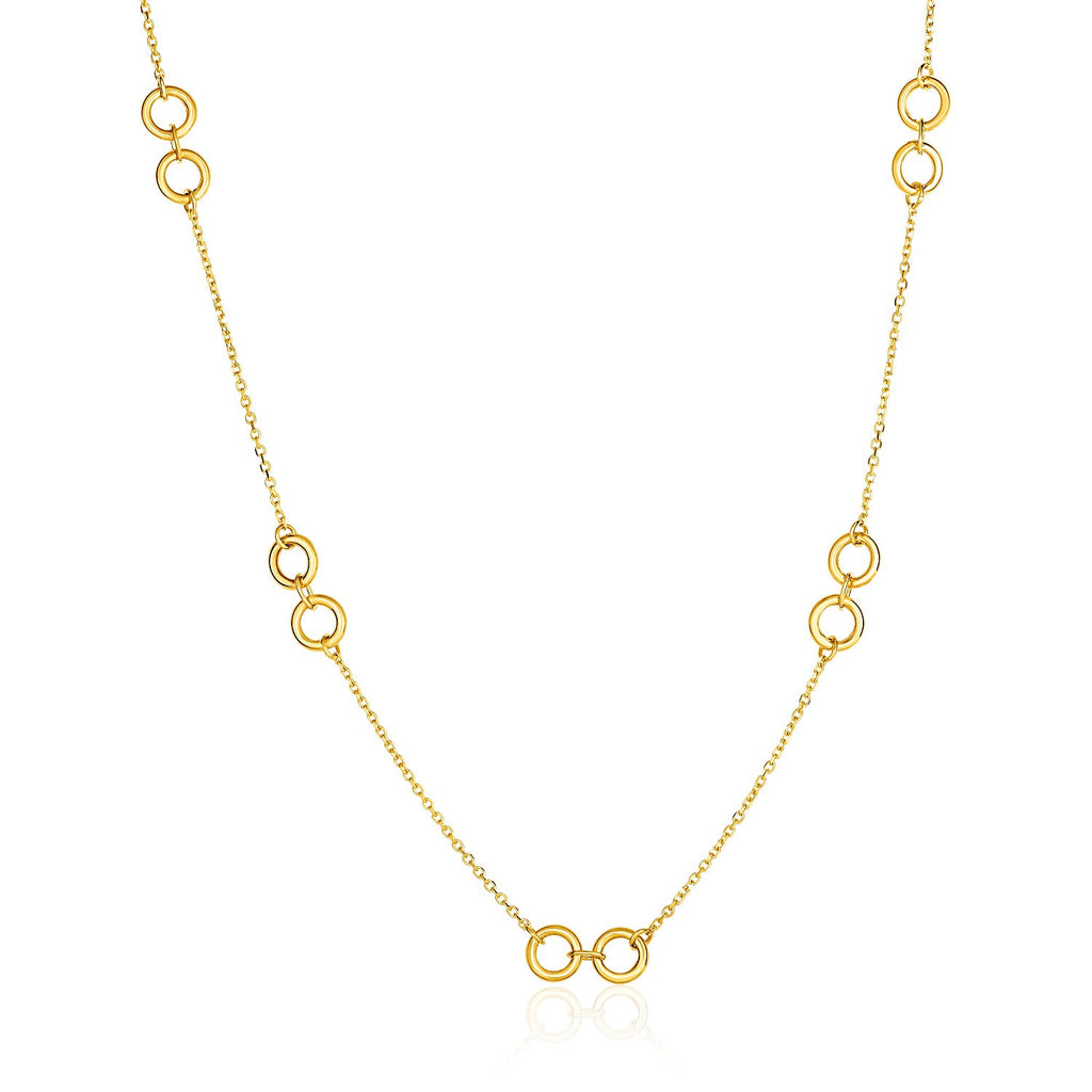 14K Gold 18 inch Double Ring and Cable Chain Necklace