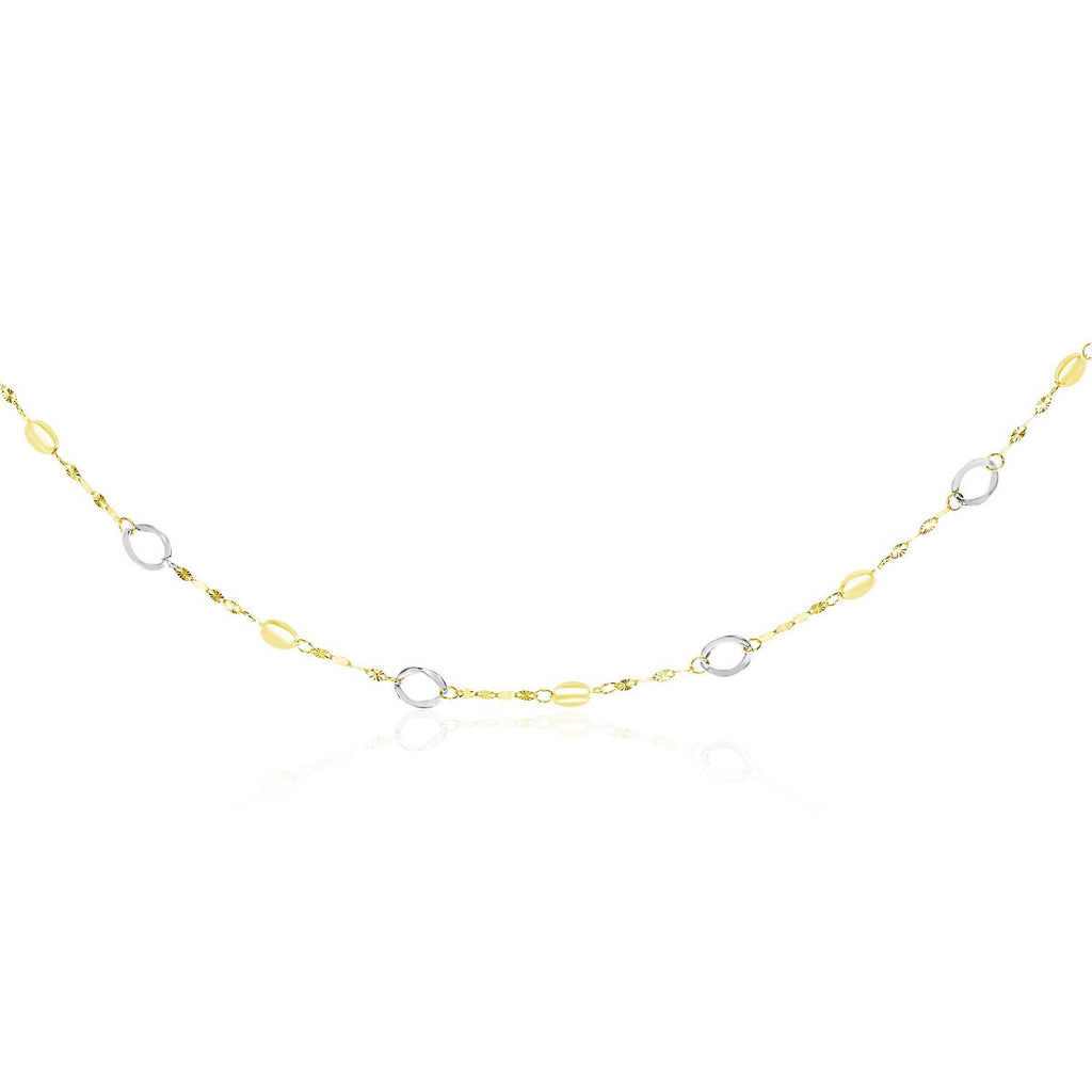 14K Two-Tone Gold Oval Stationed Multi-Textured Chain Long Necklace