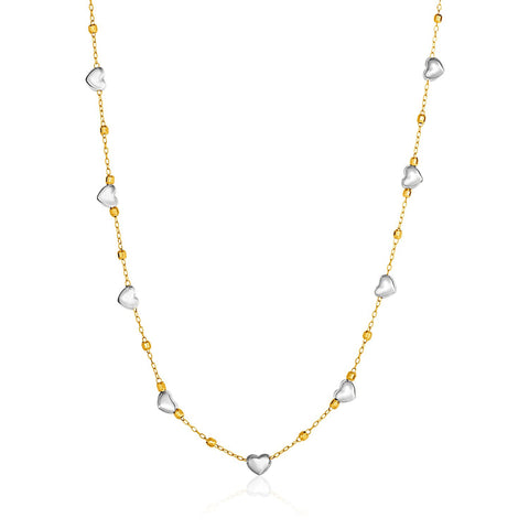 14K Gold 18 inch Two-Tone Yellow and White Gold Heart and Chain Necklace